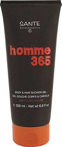 SANTE Naturkosmetik Homme 365 Body & Hair Shower Gel, Für Körper & Haare, Maskuliner Duft, Pflanzliche Tenside, Vegan, 200ml