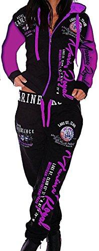 Unbekannt Damen Jogginganzug Trainingsanzug Hose + Jacke 2tlg Set Fitness Arms Schwarz-Lila XS