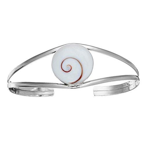 81stgeneration Frauen .925 Sterling Silber Shiva Auge Muschel Verstellbar Armreif Armband