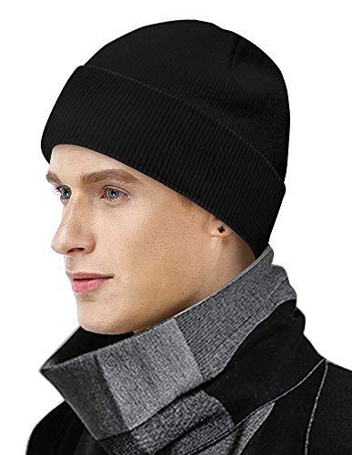 MOBIUSPHY Wintermütze Herren Damen Strickmütze Beanie Mütze Schwarz Wollmütze Winter Erwachsener klassisches Design Herrenmütze Modern Weich Elastisch Haube aus atmungsaktivem