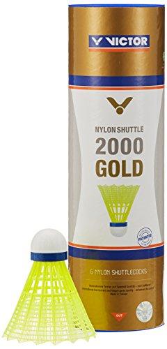VICTOR Badminton Federball Nylon 2000 6er Dose, Gelb/Blau