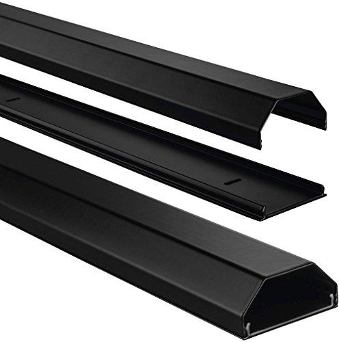Hama ALU Kabelkanal (eckig, für bis zu 8 Kabel, 110 x 5 x 2,6 cm LxBxH, Aluminium) schwarz