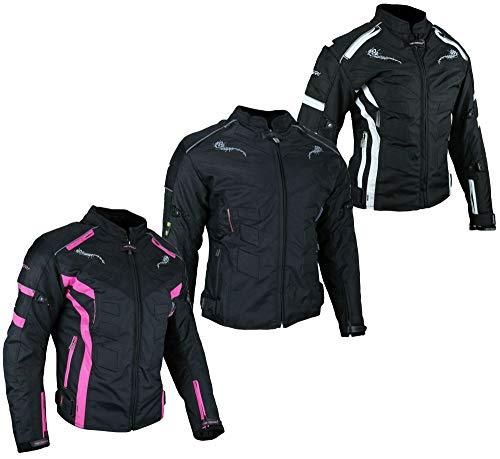 HEYBERRY Damen Motorrad Jacke Motorradjacke Textil Schwarz Weiß Gr. M / 38