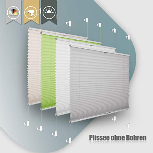 Plissee ohne Bohren klemmfix Jalousie Sonnenschutz Easyfix Faltrollo Lichtdurchlässig Rollo für Fenster Tür Hellgrau 60x200cm(BXH)