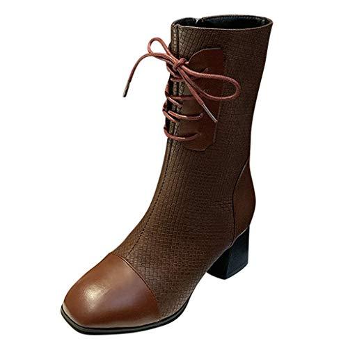 SOMESUN Halbschaft Stiefel Damen High Heels Stiefel Elegant Lederstiefel Seitlicher Reißverschluss Schöne Stiefel 6 cm