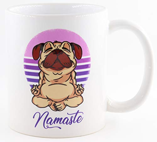 PICSonPAPER Tasse mit Yoga-Mops Namaste, Kaffeetasse, Keramiktasse, Tasse mit lustigem Spruch, Yoga-Tasse, Enstpannung
