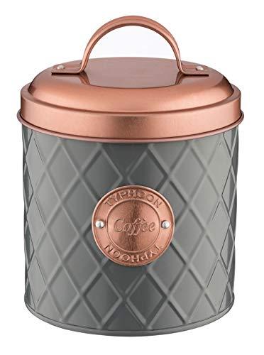 TYPHOON Henrik Copper Kaffee, anthrazit/Kupfer, 1 Liter Vorratsbehälter, Stahl, Bambusholz, Silikon