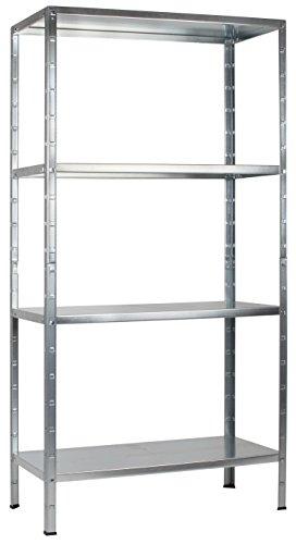 Regal Steckregal verzinkt Metall 180x80x40cm Regalsystem Steckregalsystem  4 Metall-Böden Traglast 260kg einfache Montage durch Stecksystem kein Verschrauben Schulte