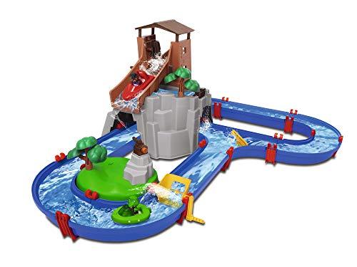 Big Spielwarenfabrik 8700001647 Adventureland-Wasserbahn mit Berg, Turm und Stausee, Mehrfarbig