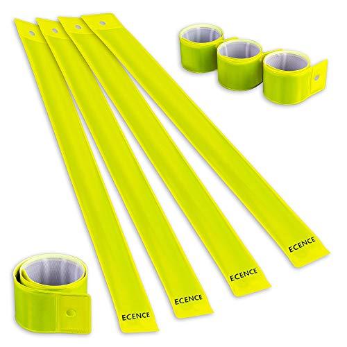ECENCE 8X Schnapparmband Reflektorband Sicherheitsband Klatscharmband reflektierend Neon für Kinder, Erwachsene, Jungen und Mädchen im Set zum Fahrrad Fahren, Laufen oder Joggen 12040308