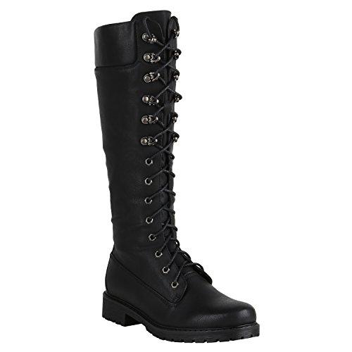 Damen Stiefel Worker Boots Profilsohle Schnürstiefel Schuhe 149553 Schwarz Autol 39 Flandell