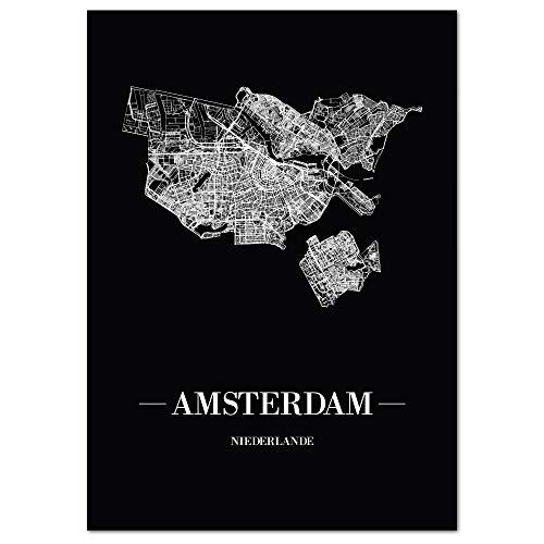 JUNIWORDS Stadtposter, Amsterdam, Wähle eine Größe, 21 x 30 cm, Poster, Schrift A, Schwarz