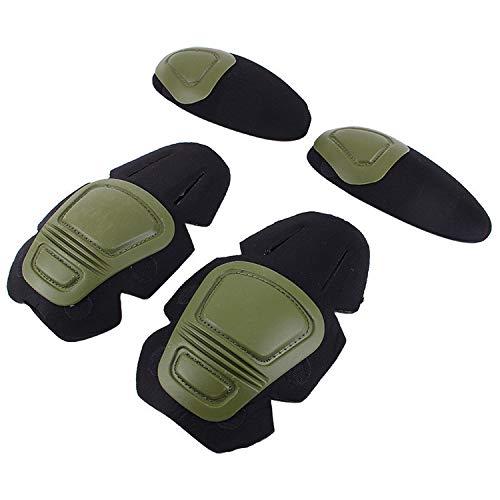 Tactical Knie und Ellenbogen Protektor Pad für Paintball Softair Combat Uniform Militär Anzug 2Knieschützer & 2Ellenbogenschoner/Set, grün