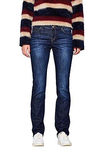edc by ESPRIT Damen Stretch Organic Cotton Straight Jeans, Blue Dark Wash 901, 33W / 32L