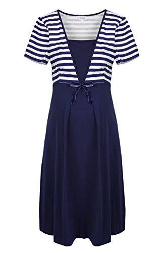 Herzmutter Umstandsnachthemd-Stillnachthemd - Schwangerschafts-Nachthemd mit Stillfunktion - Nachtwäsche für Schwangerschaft-Stillzeit - Blumen-Muster-Streifen-Maritim - 2800 ALT (L, Blau/Weiß)