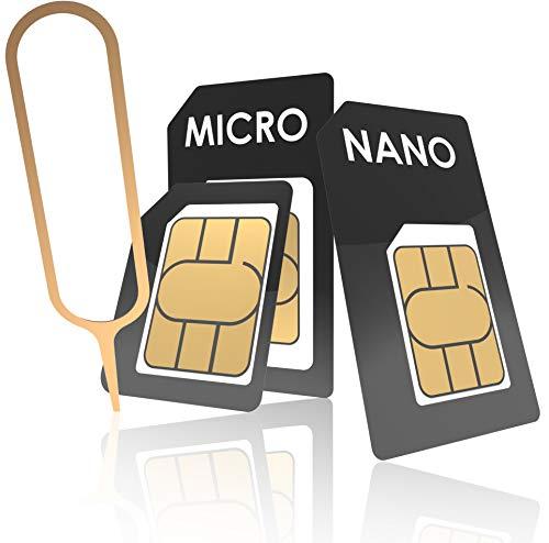 innoGadgets Nano-SIM Adapter Set   Komplettes Adapter-Set für Nano-SIM auf Micro-SIM auf SIM   Inklusive SIM-Öffner-Nadel   Für alle Geräte geeignet