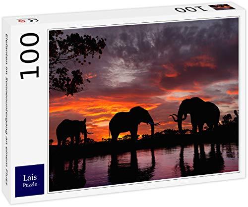 Lais Puzzle Elefanten im Sonnenuntergang an einem Fluss 100 Teile