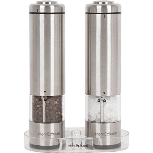 Latent Epicure Salz und Pfeffermühle (2er Set) - Batteriebetrieben | Leuchtendes Licht | Einstellbare Feinheit | inkl. GRATIS Ständer