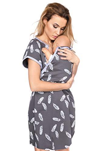 MijaCulture 3 in1 Geburtskleid Stillnachthemd Umstandsnachthemd Krankenhaus 4123 (S / EU36, Graphite/mit Federn)