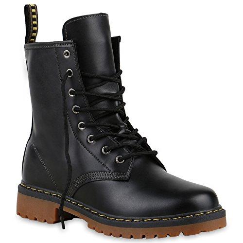 Derbe Damen Stiefeletten Worker Boots Profilsohle Camouflage Stiefel Schnür Animal Print Schuhe 126907 Schwarz 40 Flandell