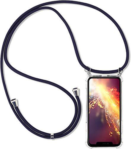 Herbests Kompatibel mit Huawei Y9 2019 Handykette Hülle mit Umhängeband Durchsichtig Necklace Hülle mit Kordel zum Umhängen Schutzhülle Silikon Handyhülle Kordel Schnur Case,Blau