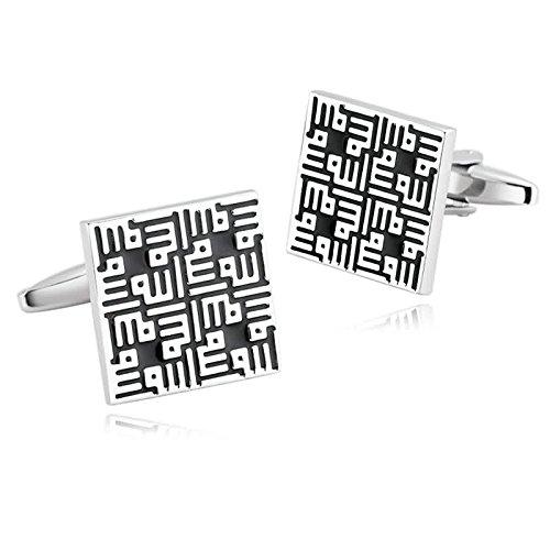 Gnzoe Herren Manschettenknöpfe Edelstahl Silber Schwarz Quadrat Manschettenknopf Für Hemd Art Deco Stil Manschetten Knöpfe mit Kasten