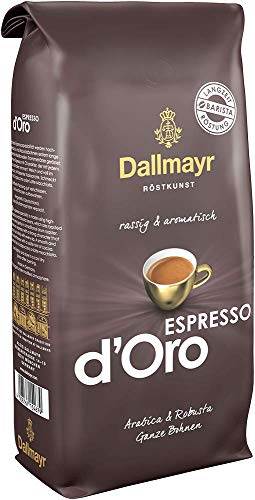 Dallmayr Kaffee Espresso d'oro Kaffeebohne, Ganze Bohne, 1er Pack (1 x 1000g Beutel)