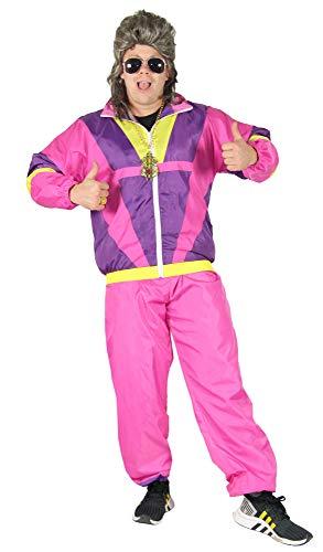 Foxxeo pinkes 80er Jahre Kostüm für Erwachsene Trainingsanzug Assianzug Assi Gr. S-XXXL Größe M