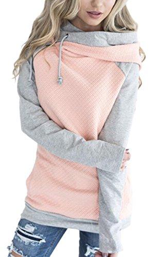 ECOWISH Damen Kontrastfarbe Pulli Pullover Rollkragen Sweatshirt Kapuzenpulli Top Hoodies Rosa XL