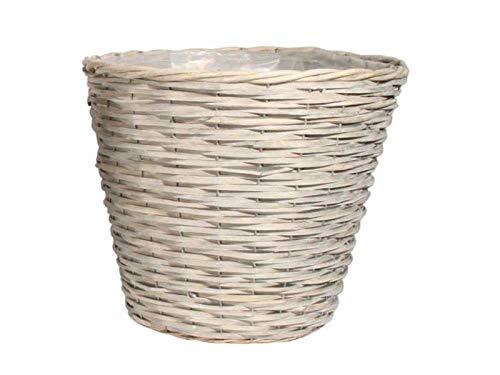 meindekoartikel Pflanzkorb Deko-Korb aus Weide mit Folie rund grau Ø 25cm x Höhe 22cm