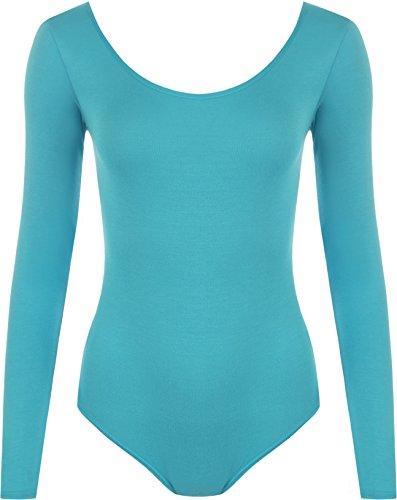 WearAll - Damen Body elastisch Langarm Bodysuit Top - Türkis - 36-38