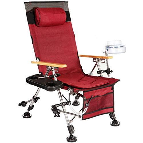 ch-AIR Multifunktionale Angeln Stuhl Komfortable Strandkorb Klapp Angeln Stuhl Rückenverstellung (Color : Red)