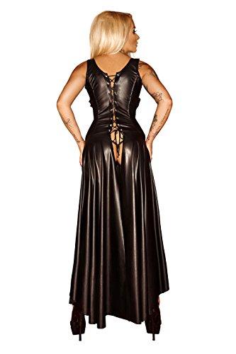 Schwarzes Damen Dessous fetisch Maxikleid wetlook Kleid mit Schnürung brustfrei lang XXL