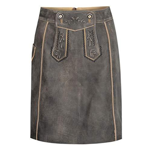 Almsach Damen Trachten-Mode kurzer Lederhosen Rock Vroni in Braun traditionell, Größe:32, Farbe:Braun