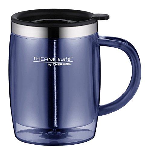 ThermoCafé Kaffeetasse Desktop Mug 350ml, Thermotasse mit Henkel 4059.256.035 Bürotasse Kunststoff blau, passt direkt unter Kaffeevollautomaten, BPA-Free, für Kaffee o. Tee, hält Getränke länger warm