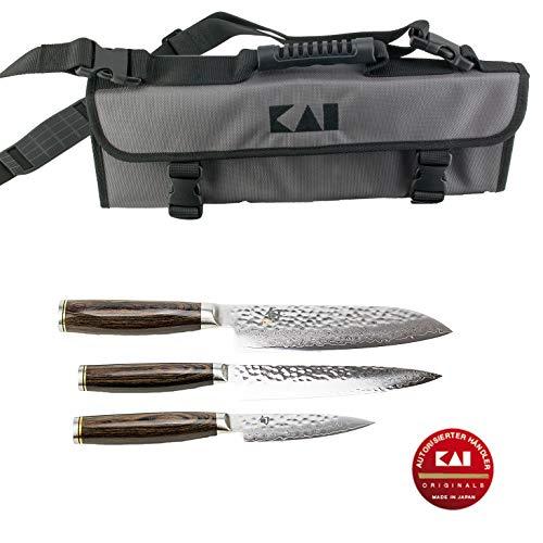 Kai Shun Tim Mälzer Damast-Messerset | Kai Messertasche + TDM-1700 (Officemesser) + TDM-1701 (Allzweckmesser) und TDM-1702 (Santoku)