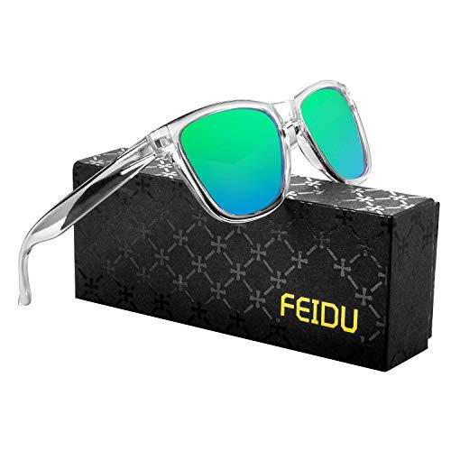 FEIDU Retro Polarisierte Damen Sonnenbrille Herren Sonnenbrille Outdoor UV400 Brille für Fahren Angeln Reisen FD 0628 (Transparentes-Grün, 60)