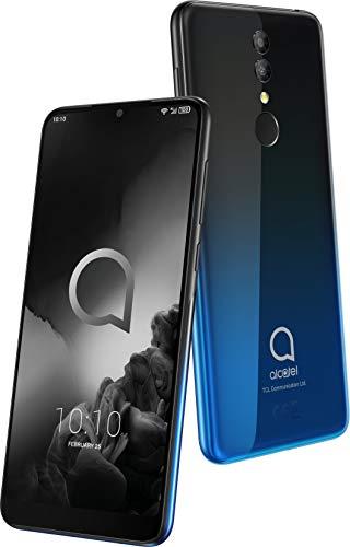 Alcatel 3 5053K Smartphone (14, 98 cm (5, 9 Zoll) IPS Display, Dual-Sim, 64 GB Speicher, 4 GB RAM, Android 9.0) Schwarz, Blau
