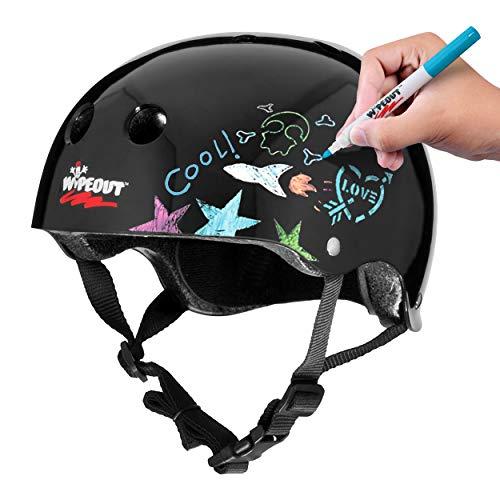 Wipeout Unisex, Jugendliche Dry Erase Kids Bike Helmet Kinderhelm, Schwarz, Ages 8+