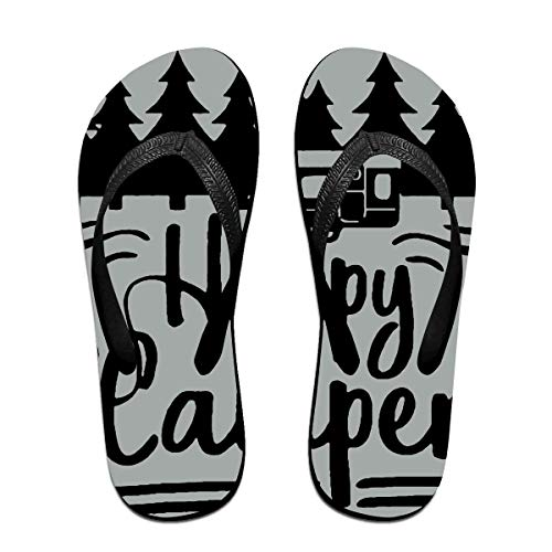Happy Camper Unisex Adults Casual Flip-Flops Sandal Pool Party Slippers Bathroom Flats Open Toed Slide Shoes Large