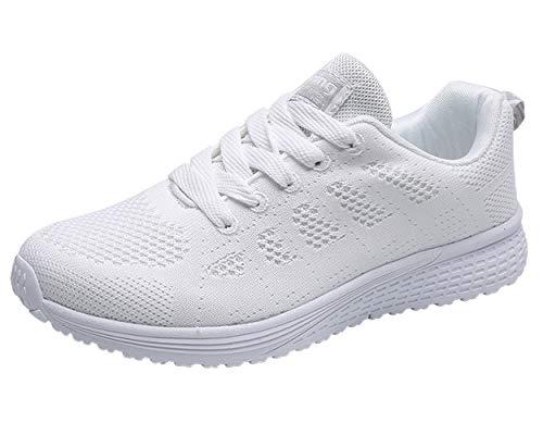 Decai Damen Fitness Laufschuhe Atmungsaktive laufende Turnschuhe Sportschuhe Schnüren Hallenschuhe Leichtathletikschuhe Running Sneaker Gym Schuhe Weiß 40 EU