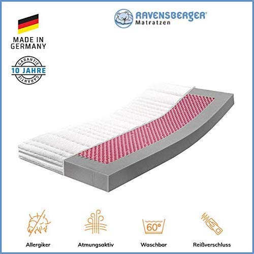 RAVENSBERGER Kinderbett HR-Kaltschaummatratze 70 x 140 cm | Antimon FREI - Silber FREI - ohne optische Aufheller | Baumwoll-Doppeltuch-Bezug