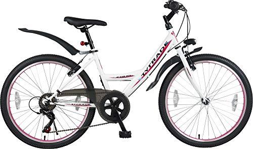 24 Zoll MTB Mountainbike MÄDCHENFAHRRAD Kinder Jugend Mädchenrad Mädchen Fahrrad KINDERFAHRRAD Bike Rad 21 Gang ENUR Weiß TYT19-027