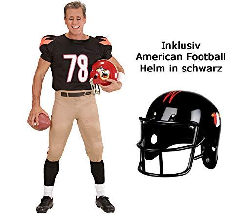 Scherzwelt Kostüm American Football Star Gr. S-XL - Sportkostüm Männer - mit Helm - Football Team Outfit - Quarterback Kostüm (S 48/50)