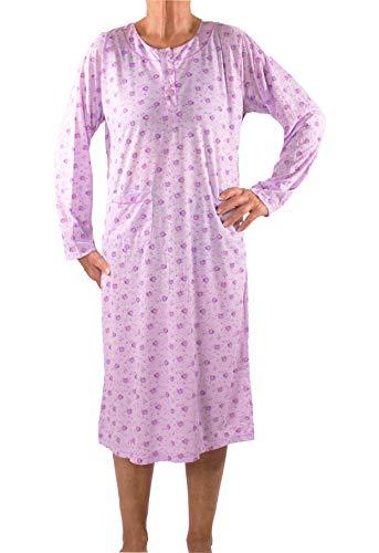 Seniorenmode24 Damen Senioren Oma Nachthemd mit Blumenmuster kuschelig weich aus Baumwolle ideal für pflegebedürftige Omas einfach anzuziehen und super pflegeleicht (lila, 48/50)