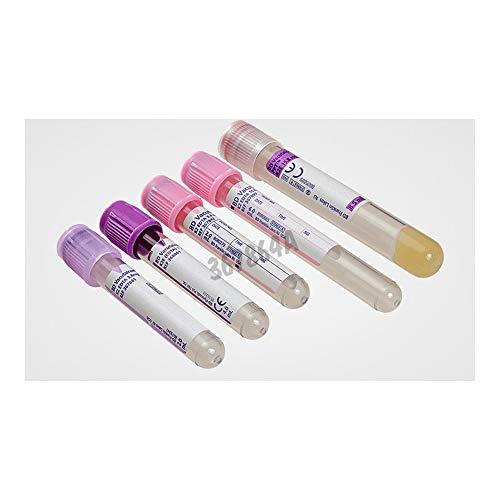 BD Medical 367864 Vacutainer K2 Edta PET Tube für Hämatologie, violetter Verschluss, durchsichtiges Etikett, 13 mm Ø, 100 mm Länge, 6 ml, 100 Stück