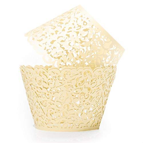 Qivange Cupcake Wrapper, Papier Backförmchen Muffin Papier Spitze Cupcake Wrappers 25 Stück Cupcake Dekoration für Hochzeiten, Geburtstage, Party, Weihnachten(Titanweiß)