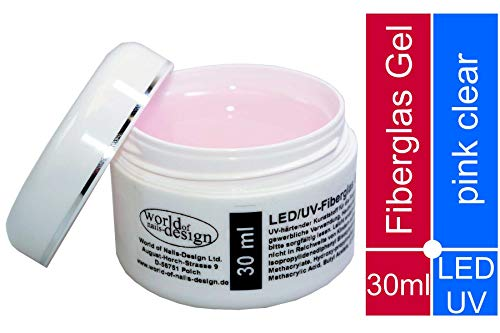 30 ml LED/UV-Fiberglas Gel dickviskose pink clear, rosa klar 1 Phasengel, Aufbaugel