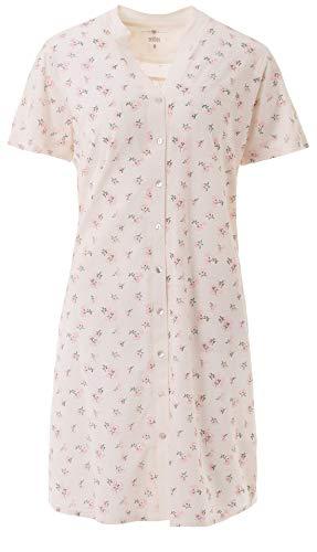 Zeitlos - Nachthemd Damen Kurzarm Stehkragen Blumen Knopfleiste, Farbe:Off-White, Größe:2XL