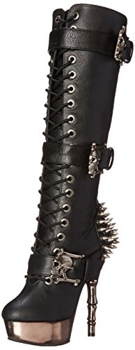 Demonia Damen MUERTO-2028 Kurzschaft Stiefel, Schwarz (Schwarz (Blk Vegan Leather/Pewter Chrome), 40 EU